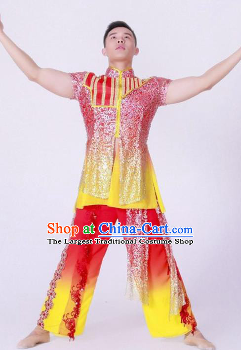 Chinese Folk Dance Red Costume Traditional Drum Dance Stage Performance Clothing for Men