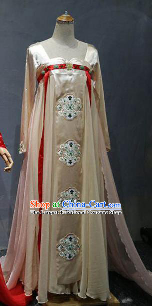 Chinese Classical Dance Stage Performance Costume Traditional Peri Dance Apricot Dress for Women
