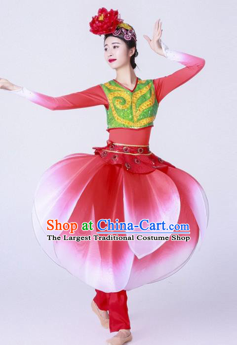Chinese Folk Dance Yangko Stage Performance Red Costume Traditional Lantern Dance Clothing for Women