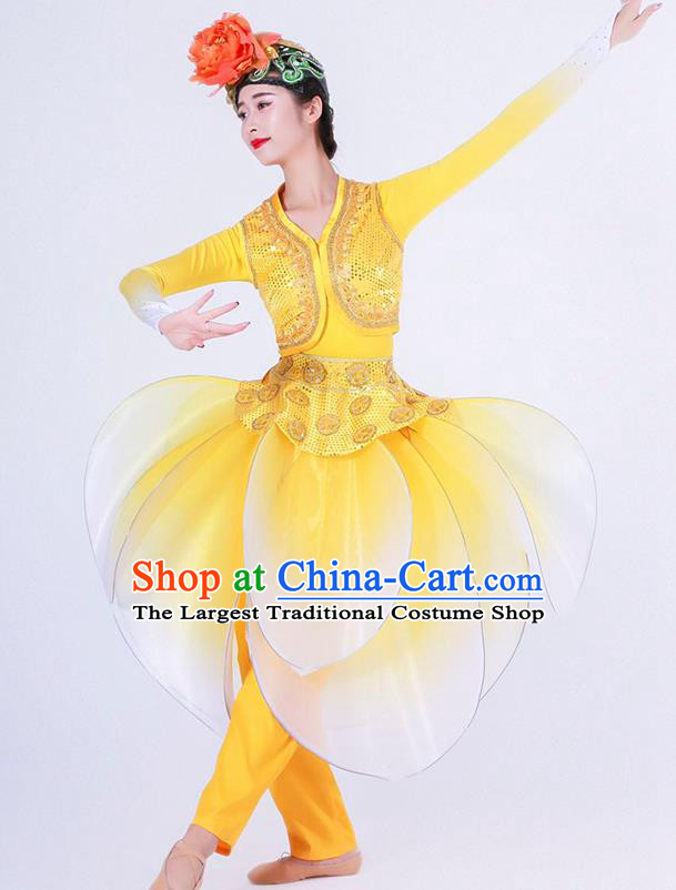 Chinese Folk Dance Yangko Stage Performance Yellow Costume Traditional Lantern Dance Clothing for Women