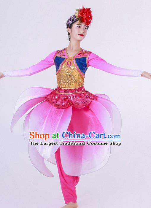 Chinese Folk Dance Yangko Stage Performance Rosy Costume Traditional Lantern Dance Clothing for Women