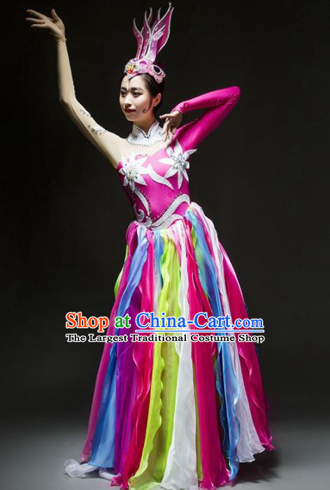 Chinese Classical Dance Costume Traditional Umbrella Dance Stage Performance Rosy Dress for Women