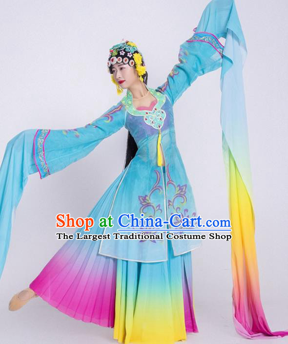 Chinese Classical Dance Costume Traditional Beijing Opera Stage Performance Blue Dress for Women