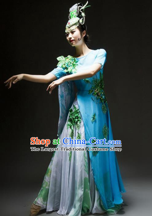 Chinese Classical Dance Chorus Costume Traditional Stage Performance Blue Dress for Women
