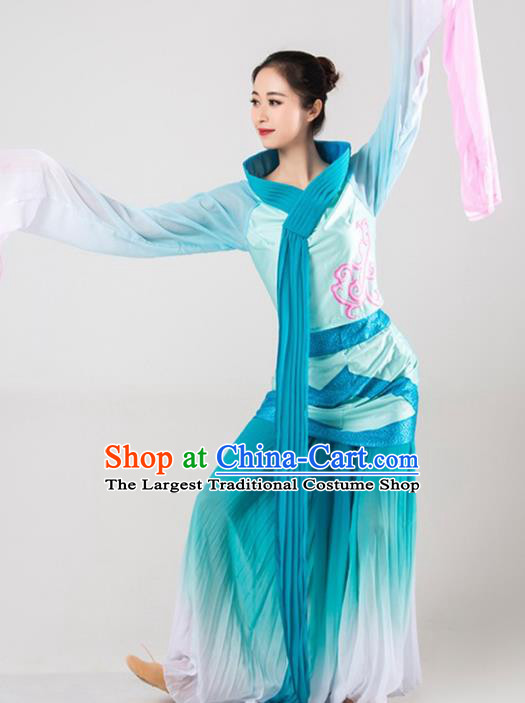 Chinese Classical Dance Green Costume Traditional Dunhuang Flying Apsaras Stage Performance Dress for Women