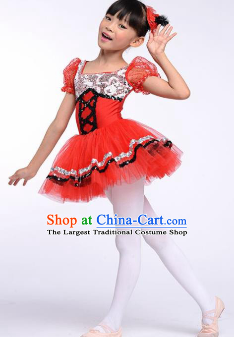 Chinese Modern Dance Stage Performance Costume Ballet Dance Red Bubble Dress for Kids