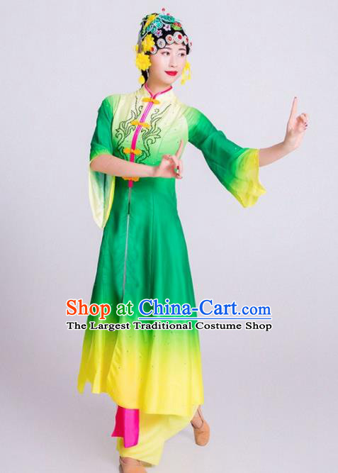 Chinese Classical Dance Green Dress Traditional Dunhuang Flying Apsaras Stage Performance Costume for Women