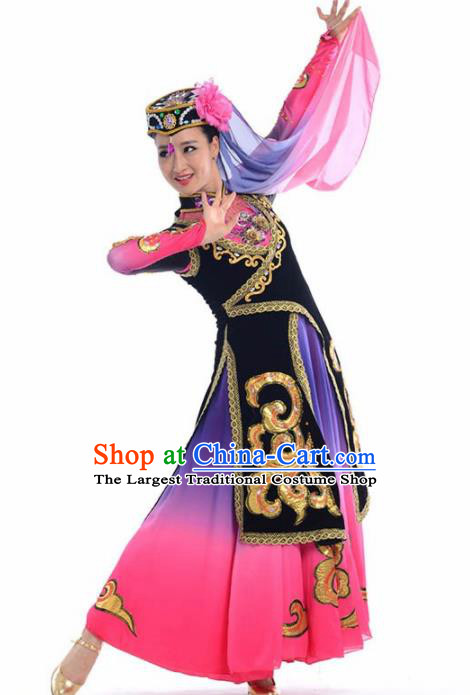 Chinese Traditional Uyghur Nationality Ethnic Dance Rosy Costume Minority Folk Dance Dress for Women