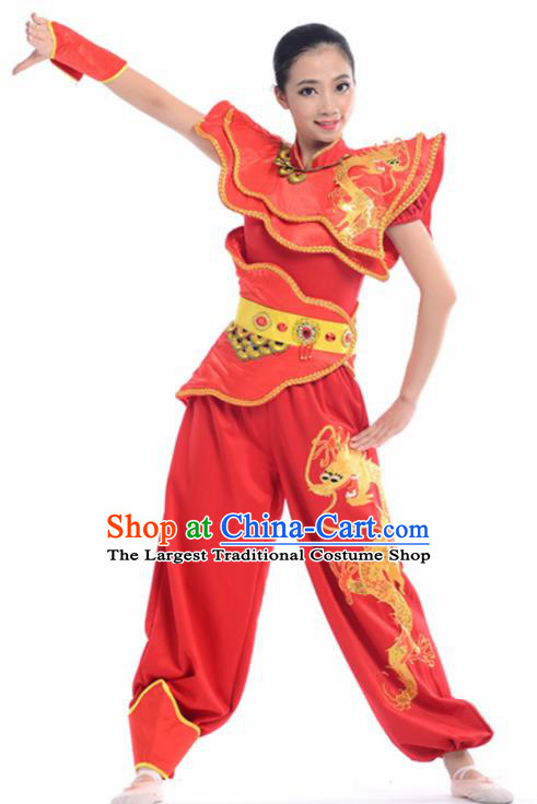 Chinese Traditional Yangko Stage Performance Red Costume Folk Dance Drum Dance Clothing for Women