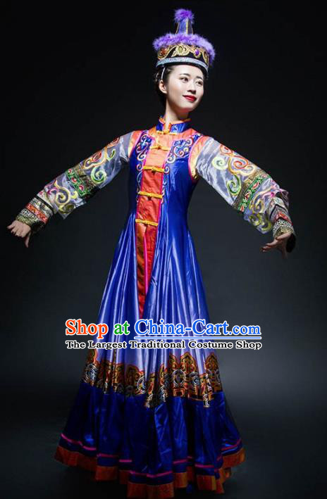 Chinese Traditional Mongol Nationality Ethnic Dance Royalblue Costume Minority Folk Dance Dress for Women
