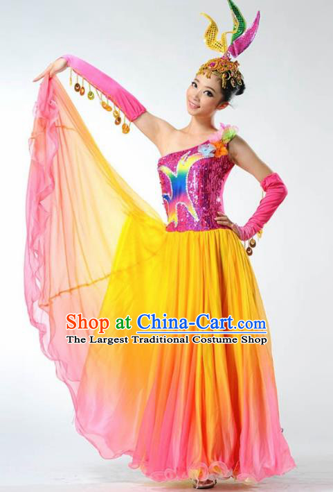 Chinese Modern Dance Stage Costume Traditional Spring Festival Gala Opening Dance Yellow Veil Dress for Women