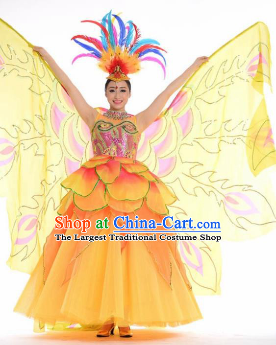 Chinese Modern Dance Stage Costume Traditional Spring Festival Gala Opening Dance Yellow Dress for Women