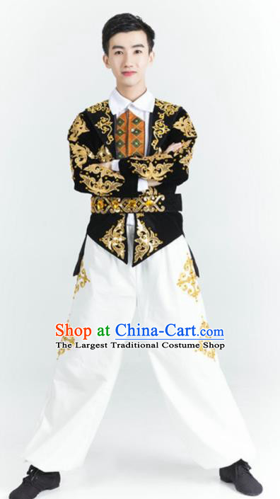 Chinese Uyghur Nationality Stage Performance Ethnic Dance Costume Traditional Uigurian Minority Folk Dance Clothing for Men