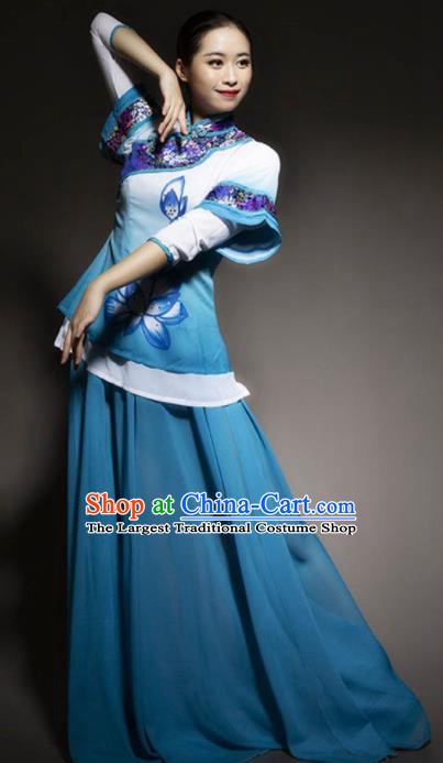 Chinese Classical Dance Blue Dress Traditional Umbrella Dance Stage Performance Costume for Women