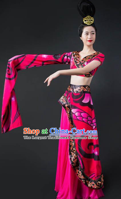 Chinese Classical Dance Rosy Dress Traditional Umbrella Dance Stage Performance Costume for Women