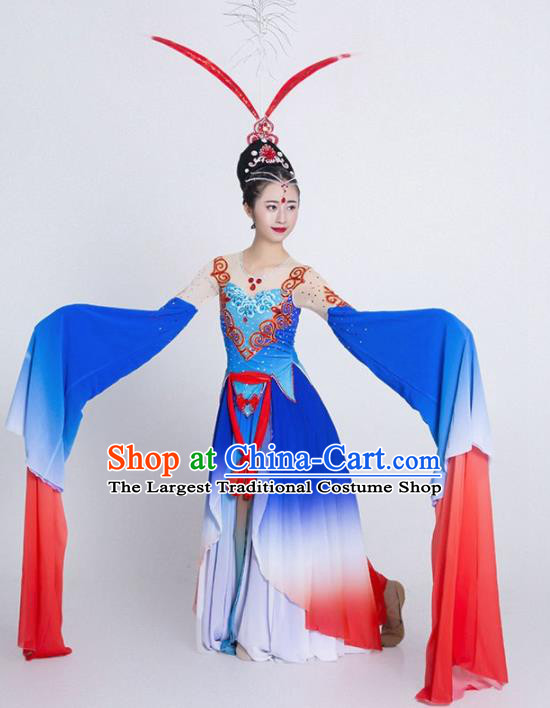 Chinese Classical Dance Blue Water Sleeve Dress Traditional Umbrella Dance Stage Performance Costume for Women