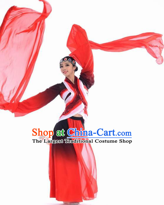 Chinese Classical Dance Beijing Opera Red Dress Traditional Umbrella Dance Stage Performance Costume for Women