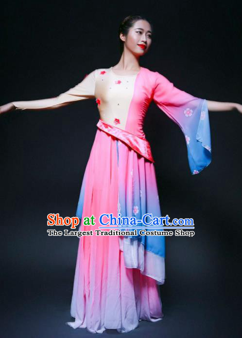 Chinese Classical Dance Lotus Dance Pink Dress Traditional Umbrella Dance Stage Performance Costume for Women