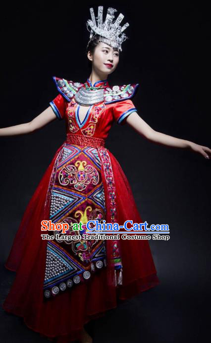 Chinese Traditional Miao Nationality Ethnic Princess Costume Minority Folk Dance Dress for Women