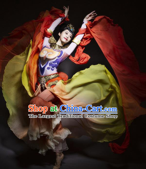 Chinese Classical Dance Costume Traditional Dunhuang Flying Apsaras Stage Performance Dress for Women