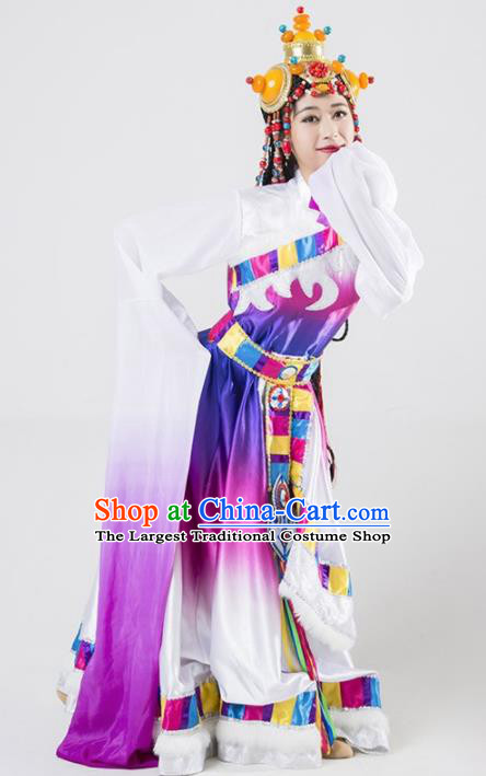 Chinese Traditional Zang Nationality Ethnic Dance Costume Tibetan Minority Folk Dance Purple Dress for Women