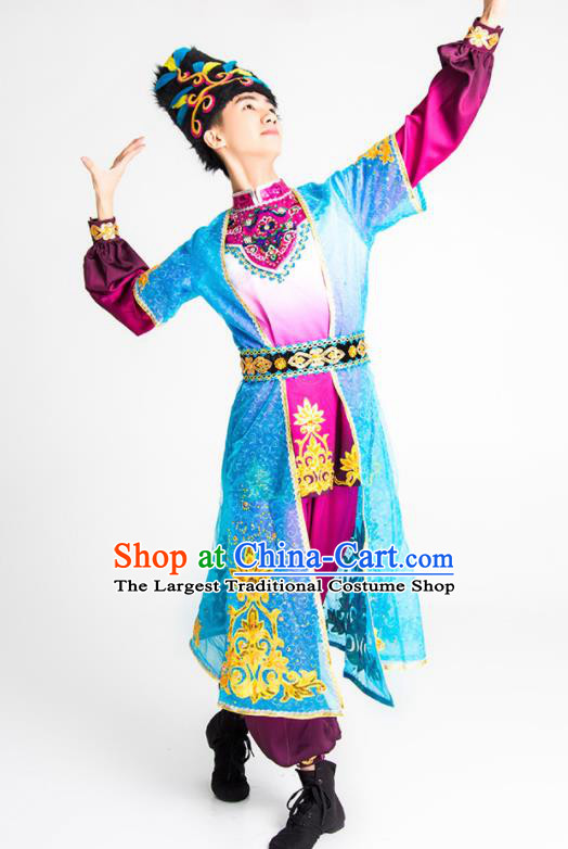 Chinese Uyghur Nationality Stage Performance Ethnic Dance Costume Traditional Uigurian Minority Bridegroom Clothing for Men