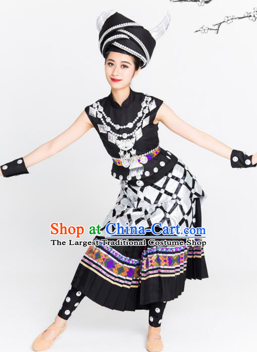 Chinese Traditional Yi Nationality Ethnic Dance Costume Minority Folk Dance Black Dress for Women