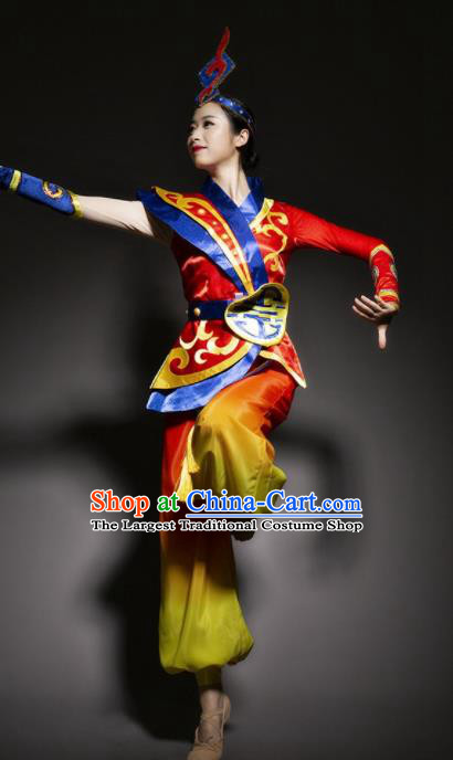 Chinese Mongol Nationality Ethnic Red Costume Traditional Minority Folk Dance Stage Performance Clothing for Women
