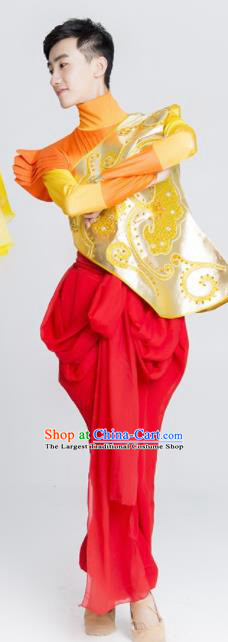 Chinese Traditional Drum Dance Stage Performance Golden Costume Folk Dance Clothing for Men