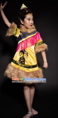Chinese Oroqen Nationality Stage Performance Costume Traditional Ethnic Minority Clothing for Kids