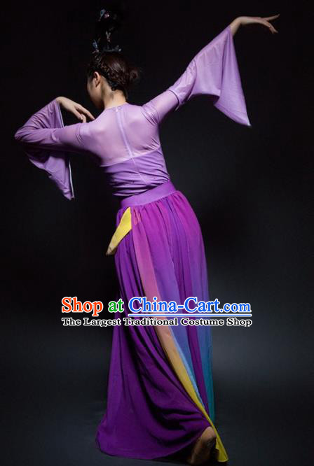Chinese Classical Dance Lotus Dance Purple Dress Traditional Umbrella Dance Stage Performance Costume for Women