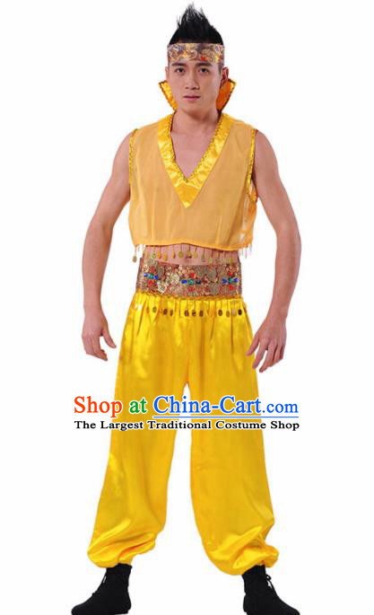 Chinese Traditional Drum Dance Stage Performance Costume Folk Dance Golden Clothing for Men