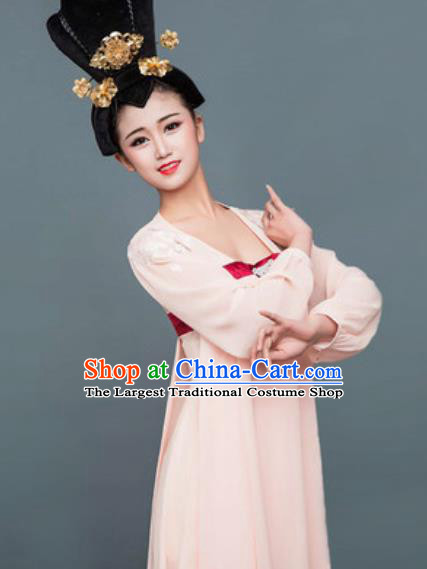 Chinese Classical Dance Pink Hanfu Dress Traditional Umbrella Dance Lotus Dance Stage Performance Costume for Women