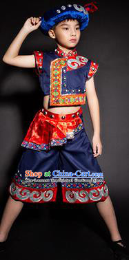 Chinese Yi Nationality Stage Performance Costume Traditional Ethnic Minority Navy Clothing for Kids