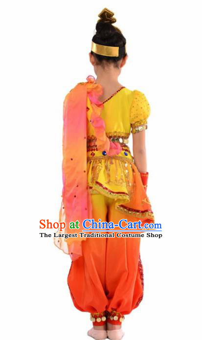 Indian Nationality Ethnic Costume Traditional Minority Folk Dance Stage Performance Clothing for Kids