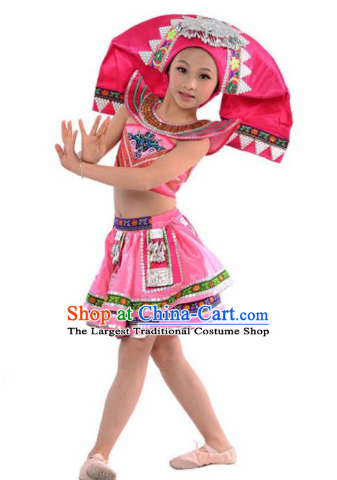 Chinese Yi Nationality Ethnic Costume Traditional Minority Folk Dance Stage Performance Clothing for Kids