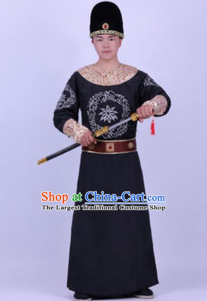 Chinese Traditional Tang Dynasty Swordsman Costume Ancient Imperial Bodyguard Black Robe for Men