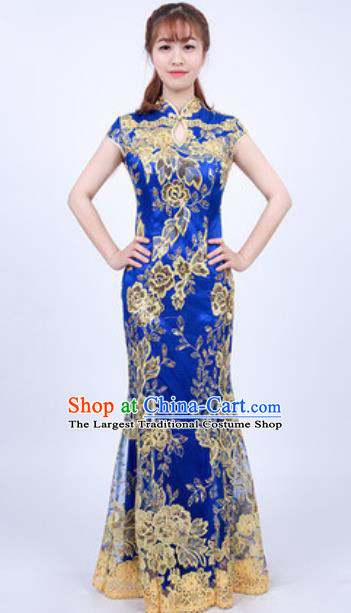 Top Grade Compere Stage Performance Royalblue Full Dress Modern Fancywork Modern Dance Costume for Women