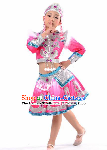 Chinese Mongol Nationality Ethnic Pink Costume Traditional Minority Folk Dance Stage Performance Clothing for Kids