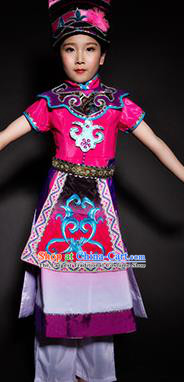 Chinese Qiang Nationality Stage Performance Costume Traditional Ethnic Minority Rosy Clothing for Kids