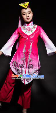 Chinese Hui Nationality Stage Performance Costume Traditional Ethnic Minority Rosy Clothing for Kids
