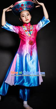 Chinese Jing Nationality Stage Performance Costume Traditional Ethnic Minority Rosy Clothing for Kids