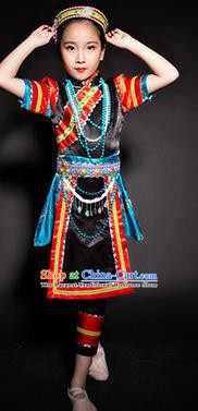 Chinese Lhoba Nationality Ethnic Stage Performance Costume Traditional Minority Folk Dance Clothing for Kids