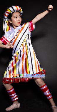 Chinese Drung Nationality Ethnic Stage Performance White Costume Traditional Minority Folk Dance Clothing for Kids