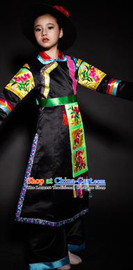 Chinese Tu Nationality Ethnic Costume Traditional Minority Folk Dance Stage Performance Clothing for Kids