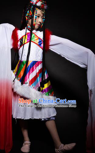 Chinese Zang Nationality Ethnic White Costume Traditional Minority Folk Dance Stage Performance Clothing for Kids