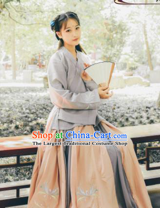Traditional Chinese Ming Dynasty Village Girl Historical Costume Ancient Poor Lady Dress for Women