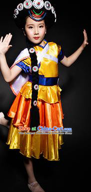 Chinese Naxi Nationality Ethnic Stage Performance Costume Traditional Minority Folk Dance Clothing for Kids