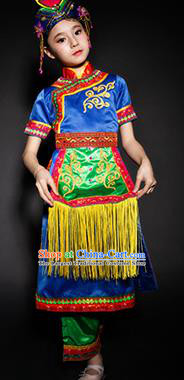 Chinese Xibo Nationality Ethnic Stage Performance Costume Traditional Minority Folk Dance Clothing for Kids