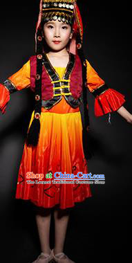Chinese Tajik Nationality Ethnic Stage Performance Costume Traditional Minority Folk Dance Clothing for Kids
